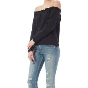 Chaser Off Shoulder Peasant Top Shirt